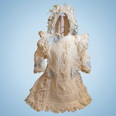 """Thank you 'M'_Lovely French Bebe Dress for 25""""-26"""" French or German Doll plus matching bonnet_"""