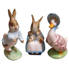 Thank you 'L'_3 Royal Albert Beatrice Potter figurines, Bunnies and  Puddleduck_Vintage_Mint Condition...