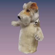 Thank you 'L'_Vintage STEIFF_ 'Foxy Fox Terrier' Mohair hand puppet_Cute toy for a doll to cuddly.