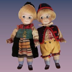 """Thank you 'W'_5"""" GOOGLY Original Kestner dolls 292 All Bisque Pair 1 boy and 1 girl"""