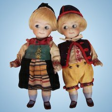 "Thank you 'W'_5"" GOOGLY Original Kestner dolls 292 All Bisque Pair 1 boy and 1 girl"