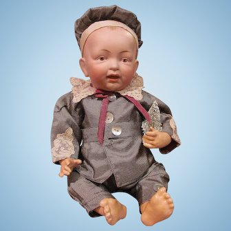 """12"""" Kestner Character Baby with Solid Dome Head and Painted BROWN Eyes_ Excellent Condition_ Short Layaway Available_"""