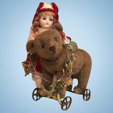 Thank you 'S'_1910 Steiff Toy Bear on iron wheels, w/Ear button + 6 Steiff buttons on leather collar_ Adorable, great companion with dolls.
