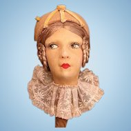 Stunning French Boudoir Hat Stand w/Hat c. 1920's w/side glancing eyes_