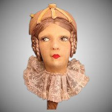 Stunning French Boudoir Hat Stand w/Hat c. 1920's w/side glancing eyes_Lenci look face