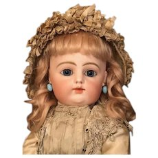 Thank you 'L'_'Magnificent' F 7 G  [block letters]_Early Model Wood Body French Bebe Gaultier_'GOLD HORSE' Out of a Doll Museum. cupped hands_jointed wrists_[Original Mohair Wig and Clothing]
