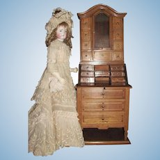 Layaway for 'A'_ Secretary Bookcase for Antique Doll Accessory_Munich, Germany, 19th century_Drop Front Desk_Perhaps a Salesman's Sample, Secretary Bookcase French Doll Scale size.