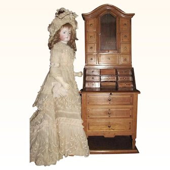 On Hold for 'A'_ Secretary Bookcase for Antique Doll Accessory_Munich, Germany, 19th century_Drop Front Desk_Perhaps a Salesman's Sample, Secretary Bookcase French Doll Scale size.