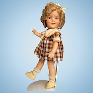 """Shirley Temple 1930's Composition Ideal 13"""" Doll in her original tagged clothing complete"""