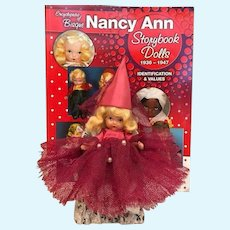 Thank you 'D'_Rare Rose Red Judy Ann USA Early all Bisque Nancy Ann Story Book Doll with Magenta outfit and Dunce Cap and chair