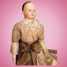 """HUGE 33"""" Papier Mâché shoulderhead """"Pauline"""" Circa 1840-50's"""