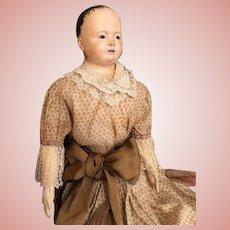 """Thank you 'V'_Large 33"""" Papier Mâché shoulderhead """"Pauline"""" Voit, Circa 1840-50's"""