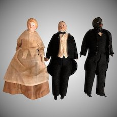 Rare Black Butler German Bisque Doll House doll with Lady and Gentleman, set of three pieces_
