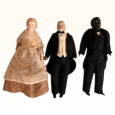 Thank you 'L'_Rare Black Butler German Bisque Doll House doll with Lady and Gentleman, set of three pieces_