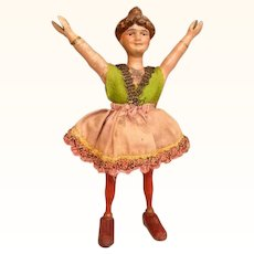 Thank you 'N'_Wooden Schoenhut Circus Girl Acrobat has smiling face. Hair in bun most unusual style. 8 inches tall.
