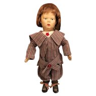 """15"""" Antique Schoenhut Carved wooden, spring jointed, pouty boy in nickers outfit"""