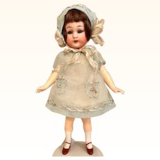 "Thank you 'N'_Antique Simon/Halbig German Flapper 6"" Bisque Girl Doll in Aqua Outfit 1920's"