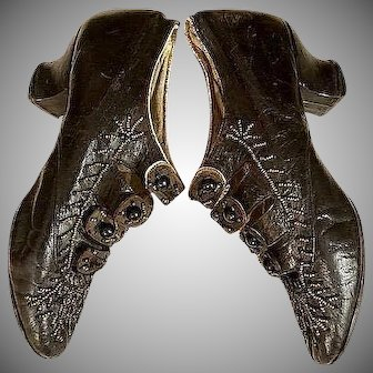 Unique hand stitched cut steel beaded antique shoes circa 1880's_ fits large Greiner dolls