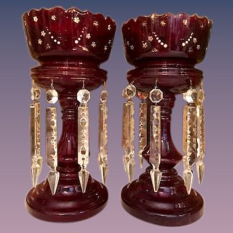Ruby Red Glass Mantle Lusters with Prisms _Matching Pair