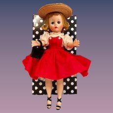 "Thank you 'S'_Vintage Cissette 1950's 9"" Madame Alexander Doll_ in red jumper dress and heels"