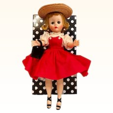 "Thank you 'S'_Vintage Cissette 1950's 9"" Madame Alexander Doll_ in red jumper dress and heels"