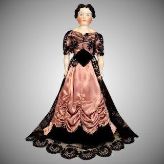"""27"""" German Alt Beck & Gottschalk, China head doll in designer ballgown with Provenance"""