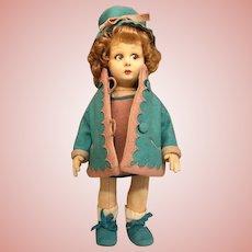 """Thank you 'B'_1930's Lenci 12"""" Italian felt antique doll w/side glancing eyes_all original_"""