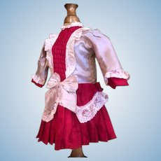 German style doll dress for 17in antique doll is one piece red and pink