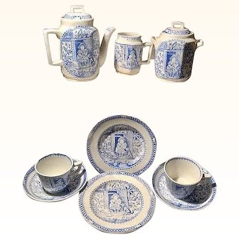 ~Little Mae Blue with dog~Child's Tea Set Charles Allerton & Sons Staffordshire England1880 11 pc set.