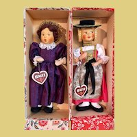 2 PRISTINE Baitz Dolls, original box w/hang tags, 1950's Austria MIB_w/Side Glancing Eyes
