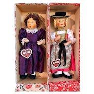 2 PRESTINE Baitz Dolls, original box w/hang tags, c1950's Austria MIB_w/Side Glancing Eyes