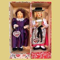 2 PRISTINE Baitz Dolls, original box w/hang tags, 1950's Austria MIB_w/Side Glancing Eyes