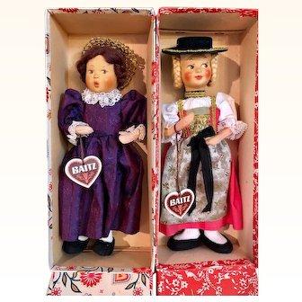 2 Baitz Dolls in original box w/hang tags, c1950's Austria MIB_w/Side Glancing Eyes
