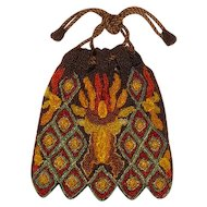 Vintage colorful glass beaded purse bag handmade for ladies or large dolls