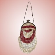 VICTORIAN two toned glass beaded purse