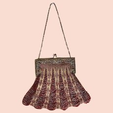 Style; In Antique Art Nouveau Gold Daisy Filigree Frame Brown Copper Iridescent Bead Purse Fashionable