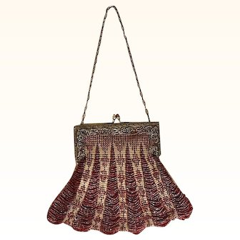 Lovely two toned glass beaded purse witch Filigree Metal Frame