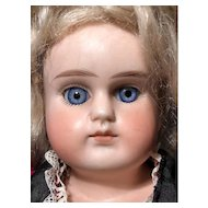 Beautiful blue spiral threaded sleep eyes_Alt Beck Gottschalck #698 bisque shoulder head_German 17in doll
