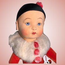 Layaway for 'M'_Original Shirley Temple childhood doll circa 1935_Merrythought in Harlequin costume 19in Made in England