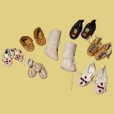Thank you 'T'_ 8 Pair of Doll Shoe Moccasins leather and fur in assorted sizes with colorful glass beadwork designs