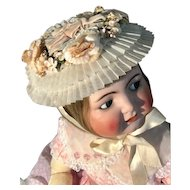 Vintage child's hat so sweet on antique baby doll_