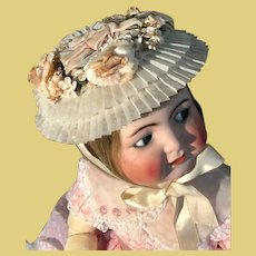 Thank you 'C'_Vintage child's hat so sweet on antique baby doll_