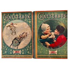 Two charming CHATTERBOX hard cover antique books_circa 1917 & 1921 _nice children's books