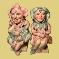 Vintage Royal Doulton The Jester and the The Lady Jester Toby Jugs RARE that both are #121 MATCHED PAIR Character faces