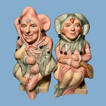 Vintage Royal Doulton The Jester and The Lady Jester Toby Jugs RARE that both are #121 MATCHED PAIR Character doll like faces