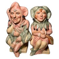 Vintage Royal Doulton The Jester PLUS the The Lady Jester Toby Jugs RARE that both are #121 MATCHED PAIR