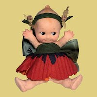 'POPPY' flower kewpie felt doll by R. John Wright_Mint in Box
