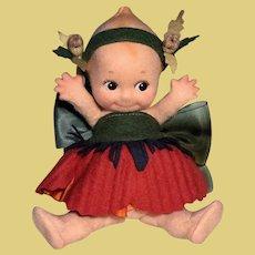 'POPPY' flower kewpie felt doll by R. John Wright_Mint in Box