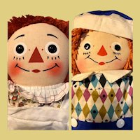 "Raggedy Ann and Andy Johnny Gruelle's Georgene 19"" Dolls 30's and 50's"
