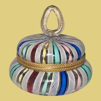 Latticino Ribbon glass round hinged Vanity Dresser Box for your Valentine